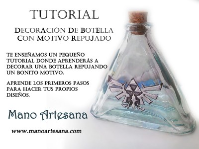 Tutorial Botella con motivo repujado.